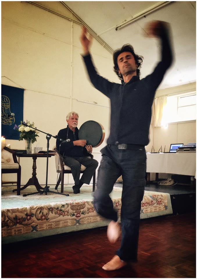 Selcuk Gurez, Mevlevi master musician and semazen, with Shaikh Kabir at our UK annual retreat.